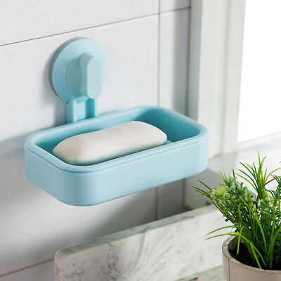 Soap Dish Suction Wall Holder Bathroom Shower Cup Dish Basket Tray Blue