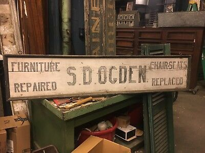 "c1910-20 antique wooden furniture repair shop sign S D Ogden SW CT 68"" x 14.5"""