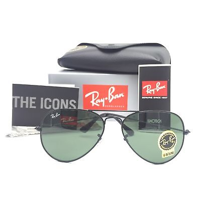 f261370626 New Ray-Ban RB3025 W3235 Black Aviator Sunglasses w  G-15 Green Lenses