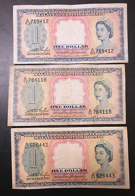 3 British Malaya $1 one dollar banknotes 1953, QEII Queen Elizabeth II notes