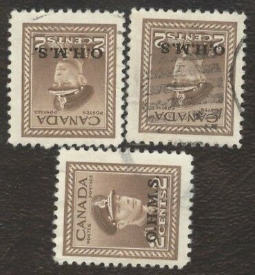 Stamps Canada # 02, 2¢, 1949, lot of 3 used stamps.