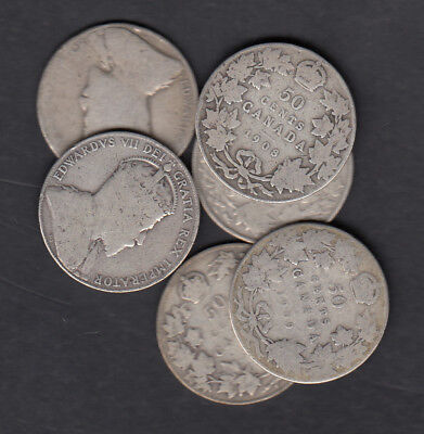 1902-10 Canada 50 Cents Silver Coins Lot Of 6