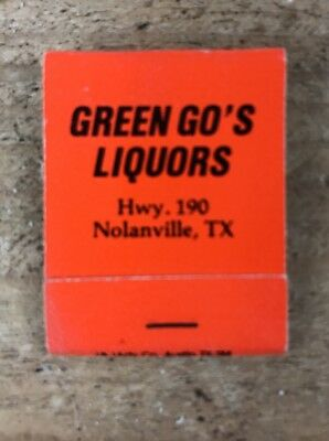 Vintage Green Go's Liquors Nolanville, TX-Unused Matches- Matchbook-Tobacco