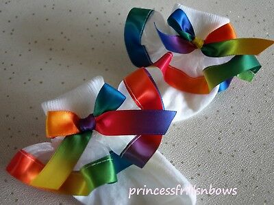 Baby Girls Socks White Organza Frilly Socks Bright Rainbow Satin Socks Hair Bow