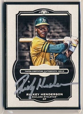 RICKEY HENDERSON 2014 Topps Museum Collection BLACK FRAMED METAL AUTO /5 HOF *