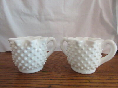 Fenton? Hobnail Milk Glass Full Star Crimped Creamer & Sugar Bowl - Excellent