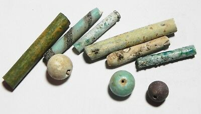 Zurqieh - As4816- Ancient Egypt, Lot Of 10 Faience Beads. 1400 B.c. New Kingdom