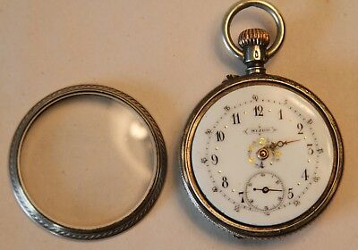 19thc Ladies BIJOU 900 Silver Pocket Watch With Beautiful Hand Painted Dial