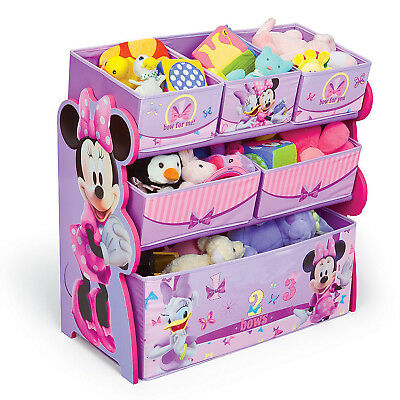Delta Children Minnie Mouse Wooden Sling Multi Bin Toy Storage Organizer, Pink