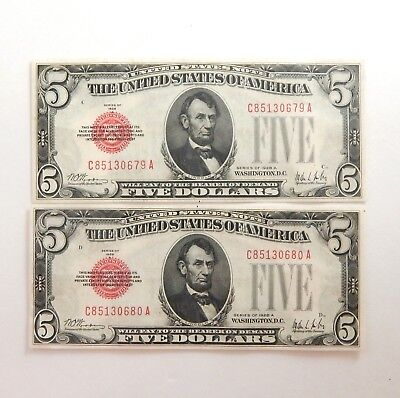 (2) 1928-A $5 Legal Tender Uncirculated Sequential #'s Bank Notes A4942