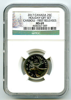 2017 Canada 25 Cent Holiday Quarter Ngc Ms69 First Releases Top Pop Only 2 Wow!!