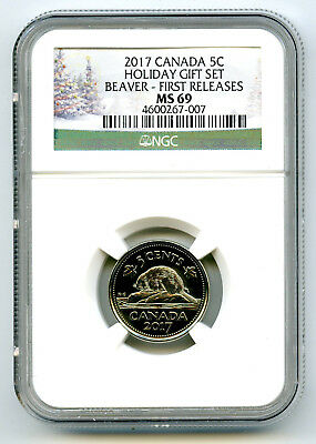 2017 Canada 5 Cent Holiday Set Nickel Ngc Ms69 First Releases Rare Top Pop Wow!!