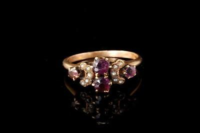 Antique Victorian Garnet Seed Pearl 10K Gold Ring  A79674