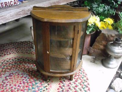 Beautiful Small Vintage Curved Glass Oak Display Case Cabinet Table Top Sized