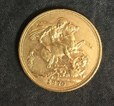 1879 M Gold Australia Sovereign St. George Young Head Coin About Unc Condition