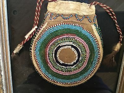 "Antique beadwork Native American Indian pouch bag 4.75"" SUPER QUALITY CONDITION"