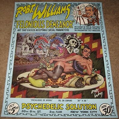 1988 ROBT. WILLIAMS Gallery POSTER Psychedelic Solution NYC Felonious Demeanor