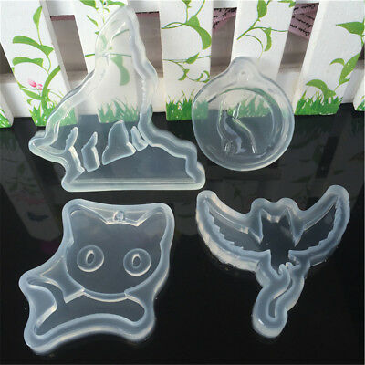 4 Pcs Pack Cat Wolf Silicone Necklace Pendant Fondant Cake Chocolate Molds Tool