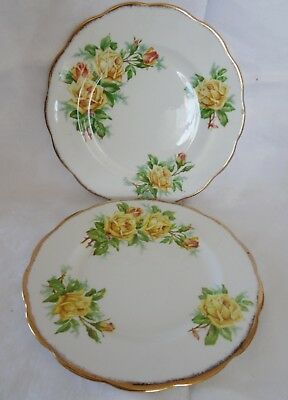 ROYAL ALBERT England Yellow TEA ROSE lot 2 Salad Dessert Plate