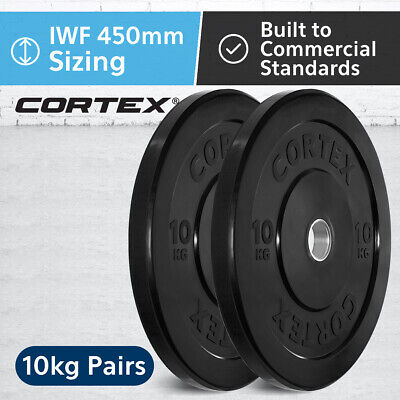 CORTEX Olympic Rubber Bumper Plates in Pairs 10kg IWF 450mm Diameter