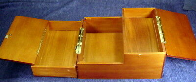 Levenger Wooden Unfolding Hinged Writing Box Lap Desk With 3 Compartments
