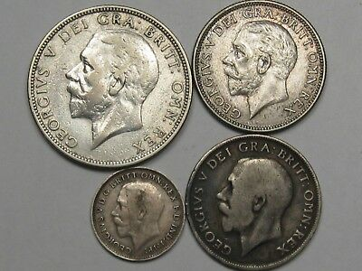 4 Silver Great Britain Coins: 1936 Florin, 1911 & 1930 - 6 Pence, 1919 - 3 Pence