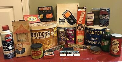 Huge Vintage Advertising Lot,Soda Bottles,Beer Cans,Food Tins,Cigars, Graphic