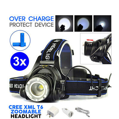 3x 21000LM ZoomableLED Headlamp Rechargeable Headlight CREE XML T6 Head Torch