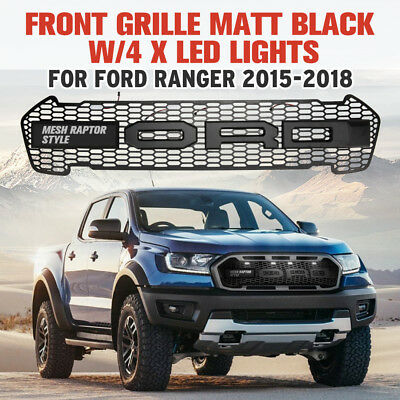 Matt Black Front Grill W/LED Lights For FORD RANGER MK2 PX2 T7 15-18 Mesh Raptor