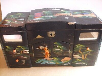 Antique Jewelry Box Musical Ballet Jewelry Wooden Box Vintage Asian Black Box