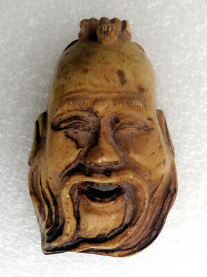 CINA (China): Old and fine Chinese small mask carved in soapstone