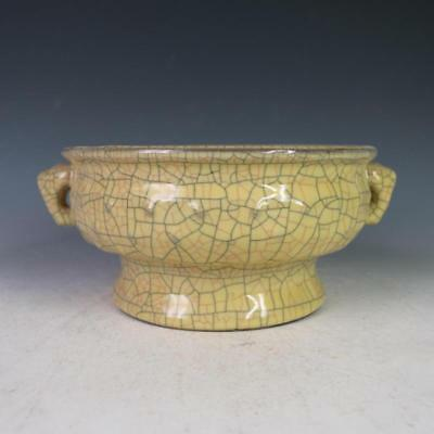 CHINESE OLD GE KILN CRACKED GLAZE PATTERN PORCELAIN DOUBLE-EAR COMPOTE bowl