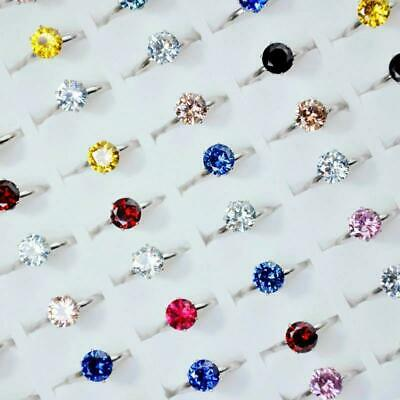 15Pcs MIx Color Zircon Crystals Silver Rings Women Rings Wholesale Jewelry KFP