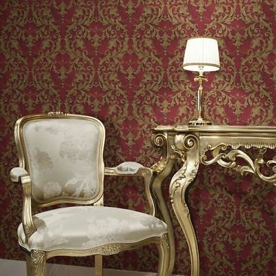 Damask Wallpaper Classic Traditional Red Gold Textured Paste The Wall Vinyl