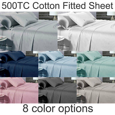 Luxton 500TC Solid Color COTTON Sheet Queen / King / Single size Fitted Sheet