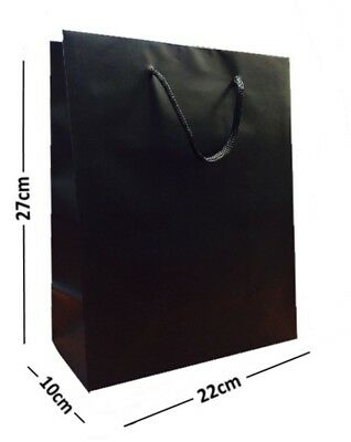 10 LARGE BLACK LAMINATED GLOSS GIFT BAGS~ROPE HANDLE BIRTHDAY FAVOURS 22x10x27cm