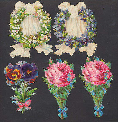S4213 Victorian Die Cut Scraps: 5 Flowers with Ribbon