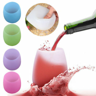 Silicone Cups Red Wine Glass Unbreakable Outdoor Camping Stemless Beer Whiskey