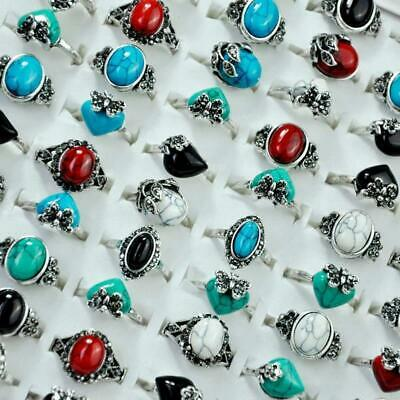 8Pcs Ancient Silver Plated Stones Rings Rhinestones Women Wholesale Jewelry KFP
