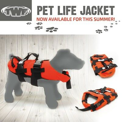 TWF Dog Pet Lifejacket Style Buoyancy Aid Boating Sailing Swim Vest Beach