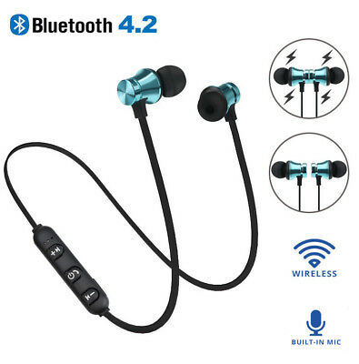 Bluetooth 4.2 Stereo Earphone Headset Wireless Magnet In-Ear Earbud Headphone NB