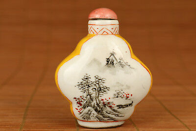 Chinese Old Handmade painting ancient snow landscape Statue snuff bottle