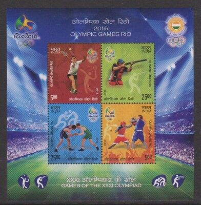 India - 2016, Olympic Games, Rio sheet - MNH - SG MS1158