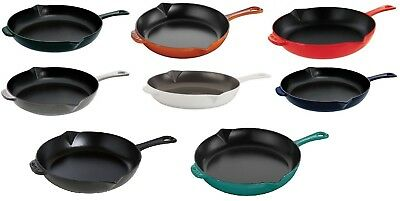 """Staub Cast Iron 10"""" Cooking Fry Pan CHOOSE FROM 8 COLORS NEW"""