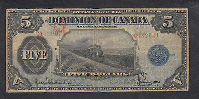 1912 Dominion Of Canada 5 Dollars Bank Note