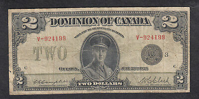 1923 Dominion Of Canada 2 Dollars Bank Note Black Seal Clark
