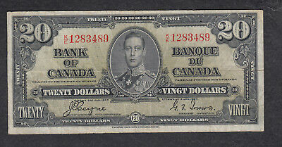 1937 Canada 20 Dollars Bank Note Coyne
