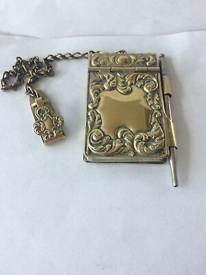Antique / Vintage Brass Chatelaine Ladies Dance Card & Pencil