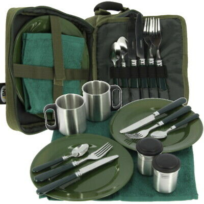 NGT Deluxe Fishing Camping Picnic Cutlery Set 2 Plates Forks Towel Mugs Bag Carp