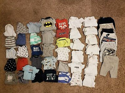 Baby Clothes Boys 49 Piece Lot Onsies Shirts Pants Carters Cat & Jack Value $300